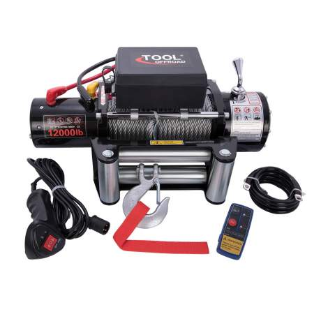 12000lb 12V Electric Winch Quiet Brake Steel Rope