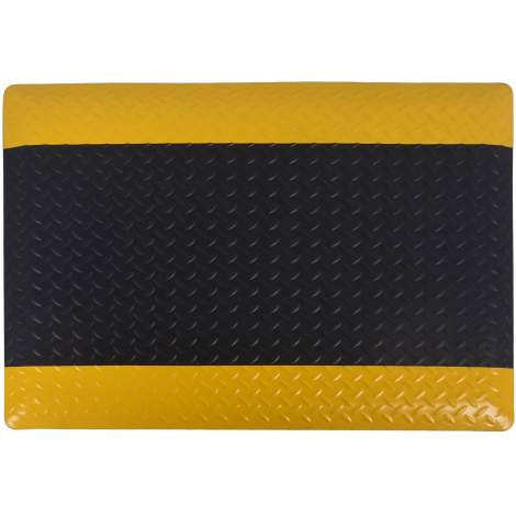 "Anti-fatigue Mat Diamond Plate 2 ft x3 ft Thick 9/16"" Black Yellow"