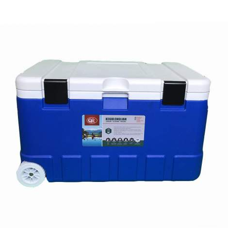 17pcs 79Qt Blue Ice Chest Cooler with Wheels White Inner Box White Lid