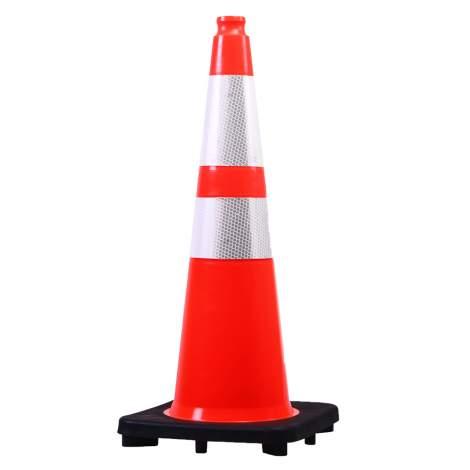 "28"" PVC Traffic Cone High Reflective Black Base 14.2"" x 14.2"" 7 lbs"