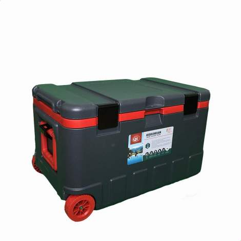 18pcs 79Qt Grey Ice Chest Cooler with Wheels Red Inner Box Grey Lid