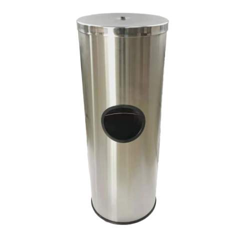 Stainless Steel Wet Wipe Floor Stand Dispenser With Trash Can