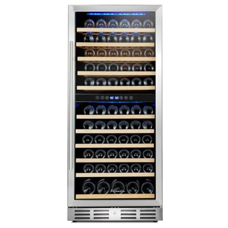 "Kalamera 24"" 117 Bottle Built-in Dual Zone Wine Cooler"