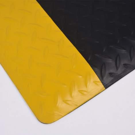 "80pcs Anti-fatigue Mat Diamond Plate 2 ft x 3 ft Thick 1/2"" Black Yellow"