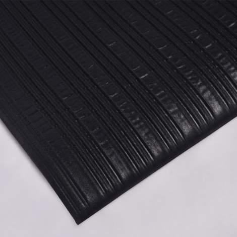 "83PCS Soft Anti-Fatigue Mat Ribbed 2 ft x 3 ft Thick 3/8"" Black"