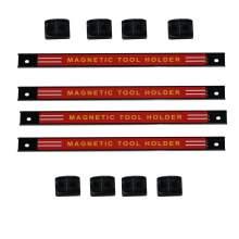 "12"" Red Steel Magnetic Tool Holder Racks 4 Pieces"