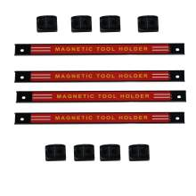 "18"" Red Steel Magnetic Tool Holder Racks 4 Pieces"
