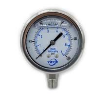 "2.5 Inch All SS Pressure Gauge Bottom 1/4""NPT 0-100PSI/BAR"