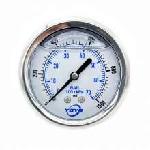 """2.5 Inch Filled Pressure Gauge Back Connection 1/4""""NPT 0-1000PSI/BAR"""