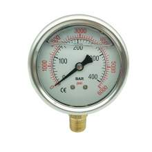P1 2.5 Inch Pressure Gauge 1/4 Npt 0-6000Psi/0-400Bar Bottom Entry SS304