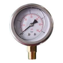"""2-1/2In 0 to 60PSI Liquid Filled Pressure Gauge 1/4""""NPT Bottom Mount"""
