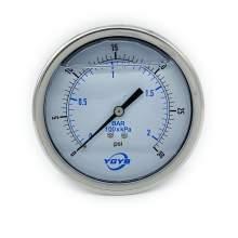 "4 Inch Liquid Pressure Gauge Back Connection 1/4""NPT 0-30 PSI/BAR"