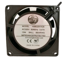 """3.14"""" 220vac standard square  Axial Fan, 1PH, 23cfm, lead wires"""