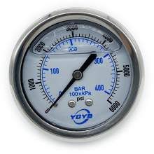 "2.5 Inch All SS Pressure Gauge Back 1/4""NPT 0-6000PSI/BAR"