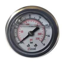 """1-1/2"""" Filled Glycerin Pressure Gauge 230 PSI Back Entry 1/8"""" NPT"""