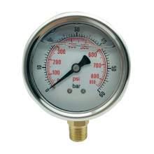 P1 2.5 Inch-Pressure Gauge1/4 Npt-0-850Psi/0-60Bar Bottom Entry SS304