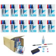 Whiteboard Marker Pen Set (Markers,Magnets,Eraser,Cleaner) Pack of 12