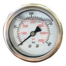 "2-1/2In 0 to 6000PSI Liquid Filled Pressure Gauge 1/4""NPT Back Mount"