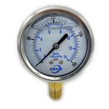 """2.5 Inch Filled Pressure Gauge Bottom Connection 1/4""""NPT 0-200PSI/BAR"""