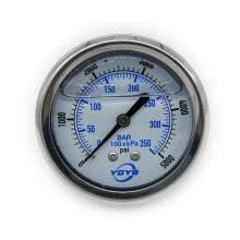 "2.5 Inch Liquid Pressure Gauge Back Connection 1/4""NPT 0-5000PSI/BAR"