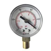 """1-1/2"""" Vacuum Pressure Gauge -15 PSI Bottom Entry 1/8""""NPT"""
