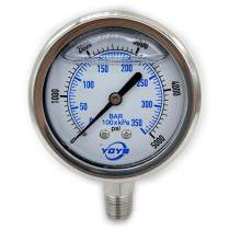 "2.5 Inch All SS Pressure Gauge Bottom 1/4""NPT 0-5000PSI/BAR"