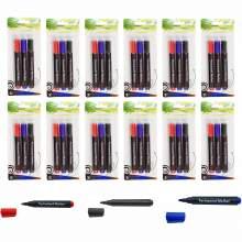 Permanent Marker Pen Bullet Tip 3 Colors (Red,Blue,Black) Set Of 36