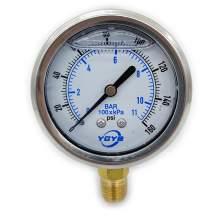 """2.5 Inch Filled Pressure Gauge Bottom Connection 1/4""""NPT 0-160PSI/BAR"""