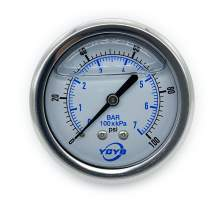 """2.5 Inch Filled Pressure Gauge Back Connection 1/4""""NPT 0-100PSI/BAR"""