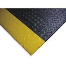 "Soft Anti-fatigue Mat Diamond Plate 3 ft x 5 ft Thick 9/16"" BK YL"