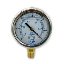 """2.5 Inch Pressure Gauge Bottom Connection 1/4""""NPT 30""""HG/0PSI/BAR"""