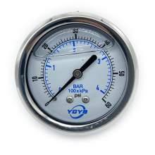 """2.5 Inch Filled Pressure Gauge Back Connection 1/4""""NPT 0-60PSI/BAR"""