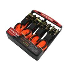 """1"""" x12' Four-piece Set Rubber Coated Handle Ratchet Strap Wll 500 Lbs"""