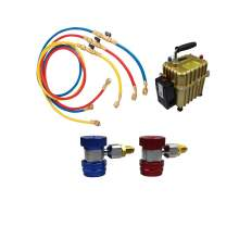 A/C Kit R134a QC 60'' Charging Hose with Ball Valve 2 in 1 Air Pump
