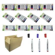 Whiteboard Marker Pen Bullet Tip 3 Colors (Black,Red,Blue) Set of 48
