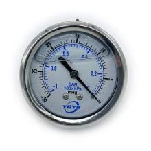 """2.5 Inch Filled Pressure Gauge Back Connection 1/4""""NPT 30""""HG/0"""