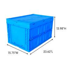"66 Liter Collapsible Crate with Lid 23.62""L x 15.75""W x 13.98""H Blue"