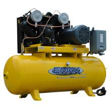 EMAX Industrial Plus 7.5 HP 1-Phase 2 Stage 80 Gal.Horizontal Stationary Electric Air Compressor