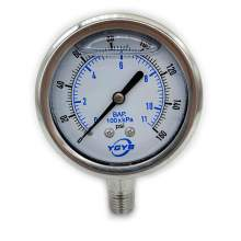 "2.5 Inch All SS Pressure Gauge Bottom 1/4""NPT 0-160PSI/BAR"