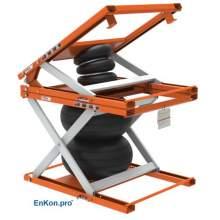 EnKon Modular 3000lb Capacity A-Series Air Scissor 30˚ Tilt Table (Tilt+Lift Only)