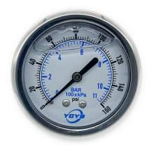 """2.5 Inch Filled Pressure Gauge Back Connection 1/4""""NPT 0-160PSI/BAR"""