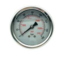 P1 2.5 Inch Pressure Gauge 1/4 Npt 0-2300Psi/0-160Bar Back Entry SS304