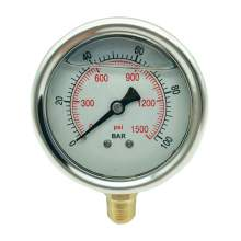 P1 2.5 Inch Pressure Gauge 1/4 Npt 0-1500Psi/0-100Bar Bottom Entry SS304