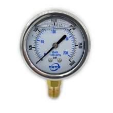 "2.5 Inch Liquid Pressure Gauge Bottom Connection 1/4""NPT 0-3000PSI/BAR"