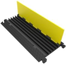 """5 Channel Rubber Cable Protector 36"""" L x 18"""" W x 2"""" H Yellow Lid"""
