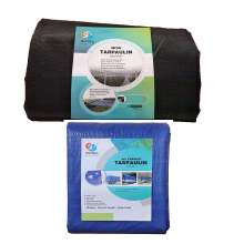 8ft x 10ft Black Knitted Mesh Tarp with 6ft x 8ft Blue Poly Tarp
