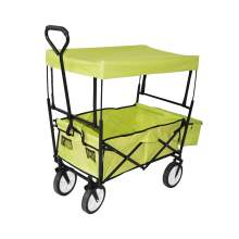 Collapsible Folding Utility Wagon with Side Bags and Canopy Green