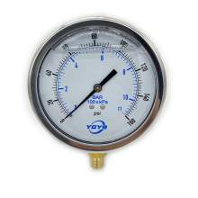 "4 Inch Liquid Pressure Gauge Bottom Connection 1/4""NPT 0-160PSI/BAR"