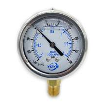 """2.5 Inch Pressure Gauge Bottom Connection 1/4""""NPT 30""""HG/30PSI/BAR"""