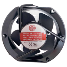6.77'' Round Axial Fan, 220vac, 50/60Hz, 1ph, 215cfm, lead wires